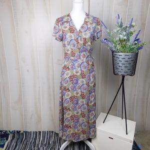 Soft Surroundings Purple Floral Silk Wrap Dress